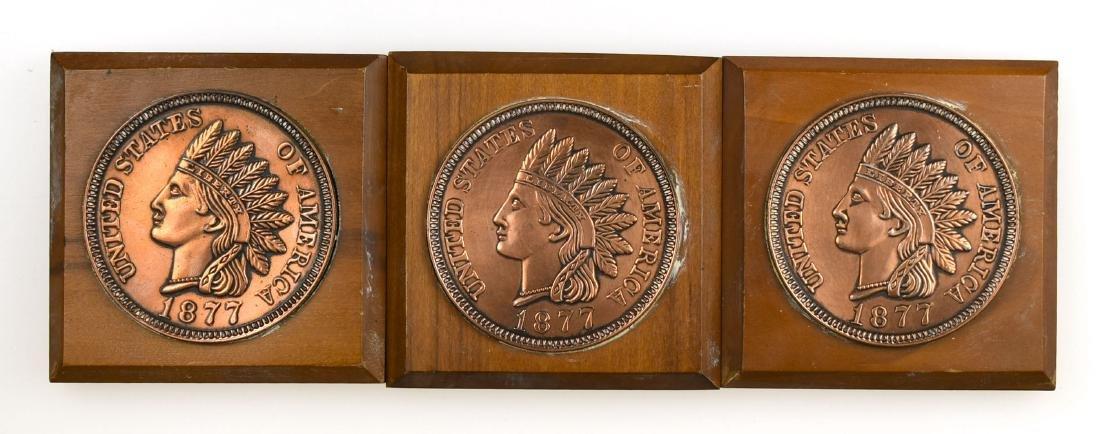 3 Decorative Indian Head Penny Plaques
