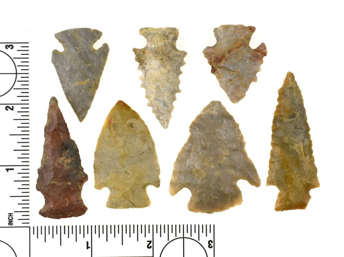 Lot of 8 Fine Kentucky Arrowheads