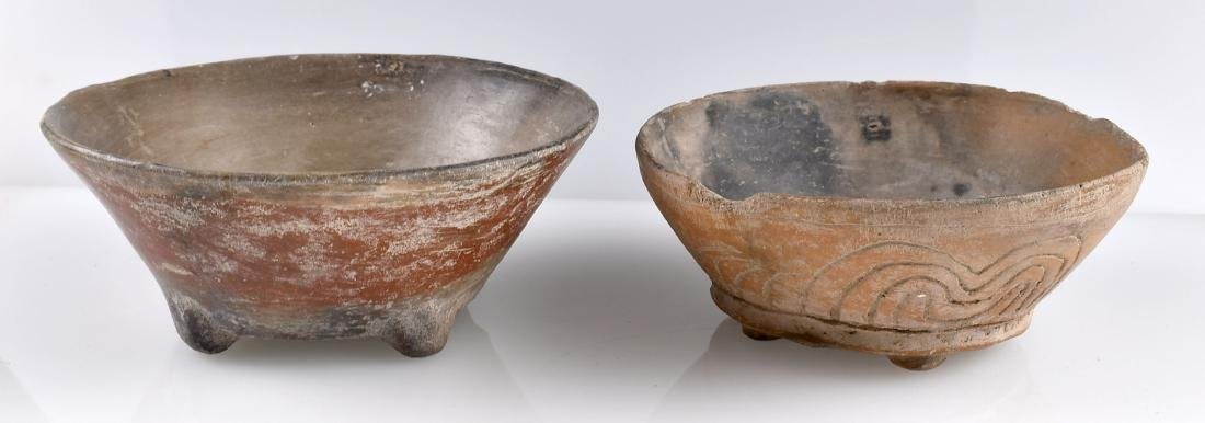 Pair of Engraved Footed Precolumbian Pots