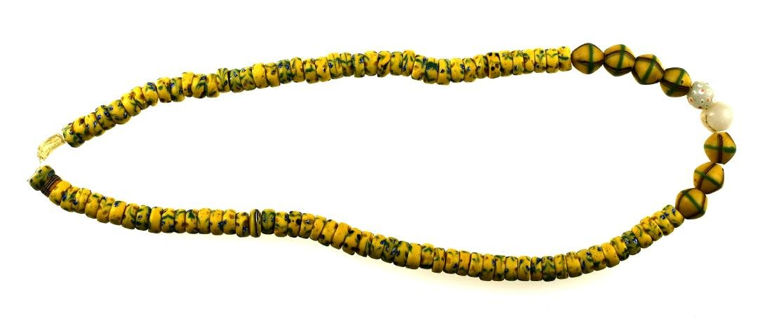 "24"" Yellow Trade Bead with Blue Accents"