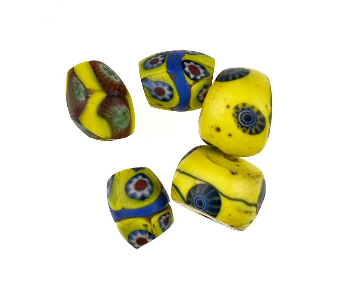 5 Yellow Millefiori Beads