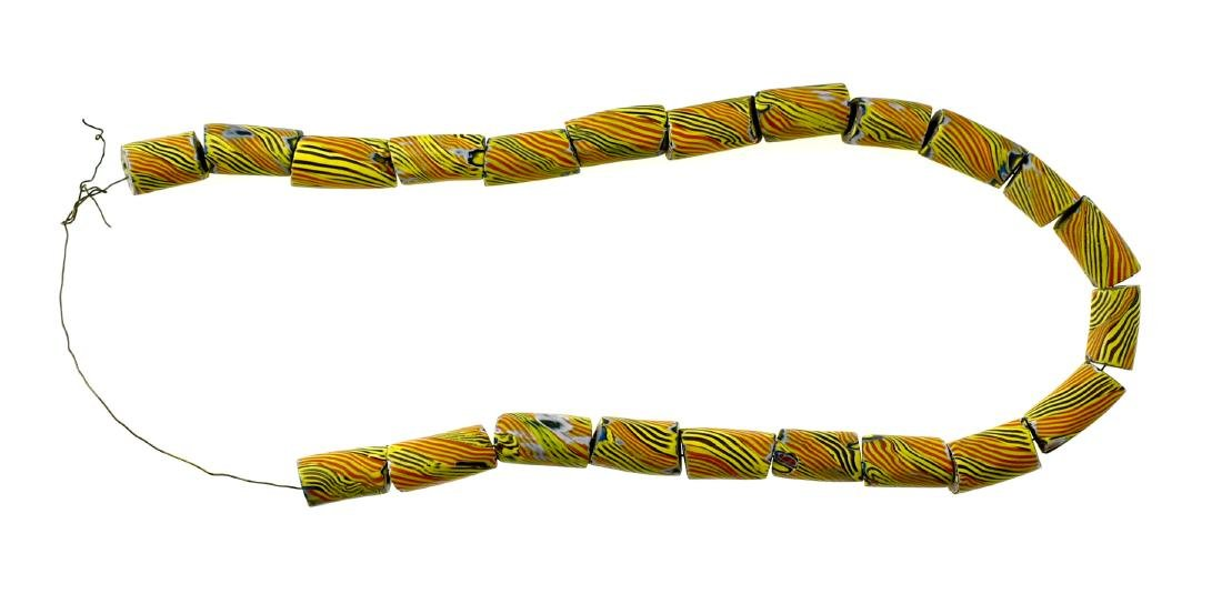 "22"" of Yellow Striped Trade Beads"