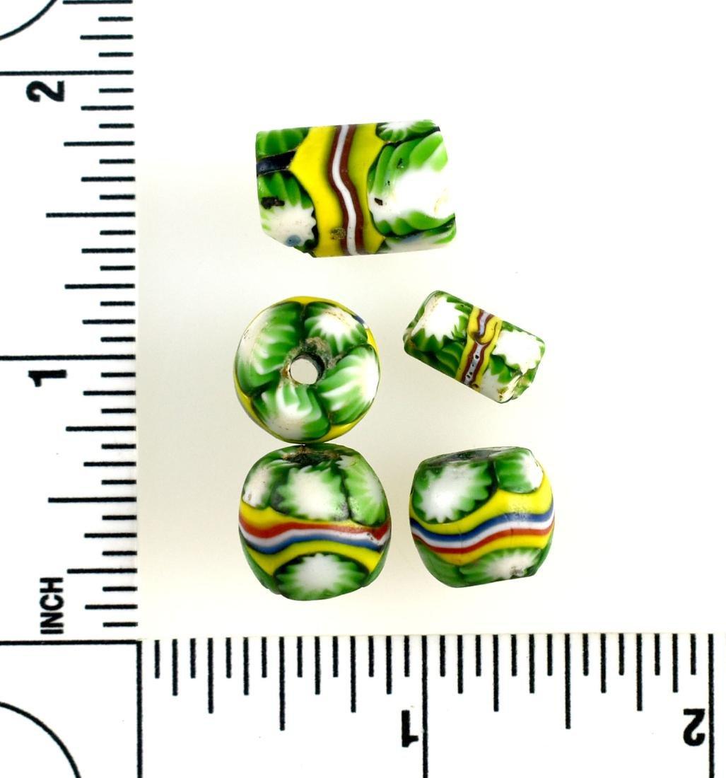 5 Green Millefiori Beads