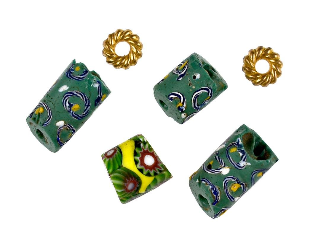 4 Green Millefiori Trade Beads