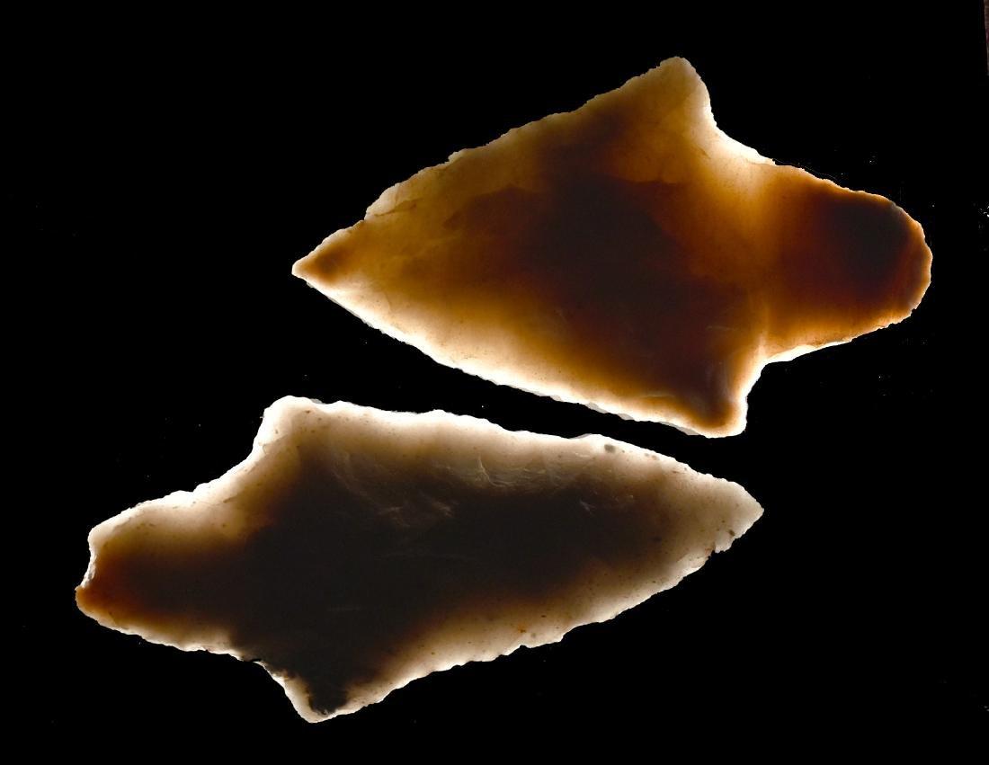 Pair of Semi-Translucent Novaculite Gary Points - 3