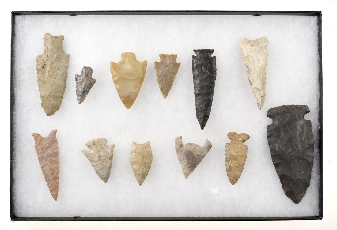 Decorative Display of 12 Arrowheads