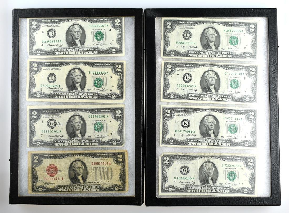 8 - $2 Bills including 1 1928F