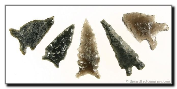 1: Group Of 5 Great Obsidian Points