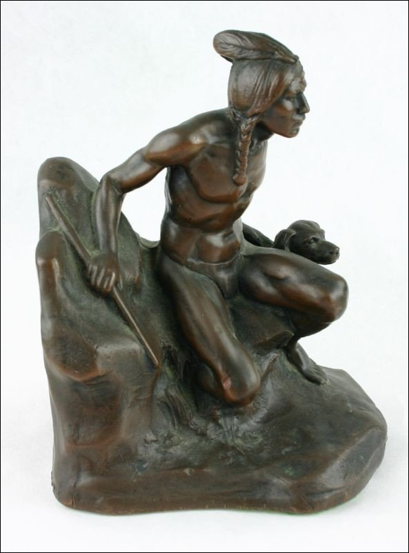 205: Great Antique Bronzed Indian Statue
