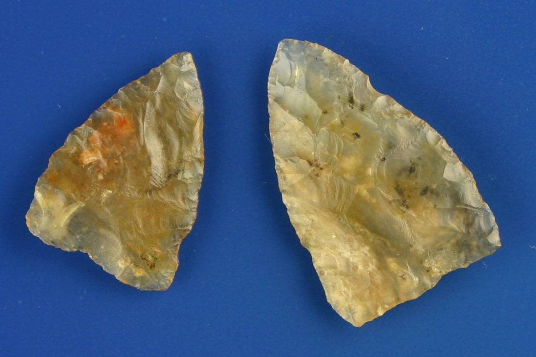 60: Killer Pair Translucent Moss Agate Plains Triangles