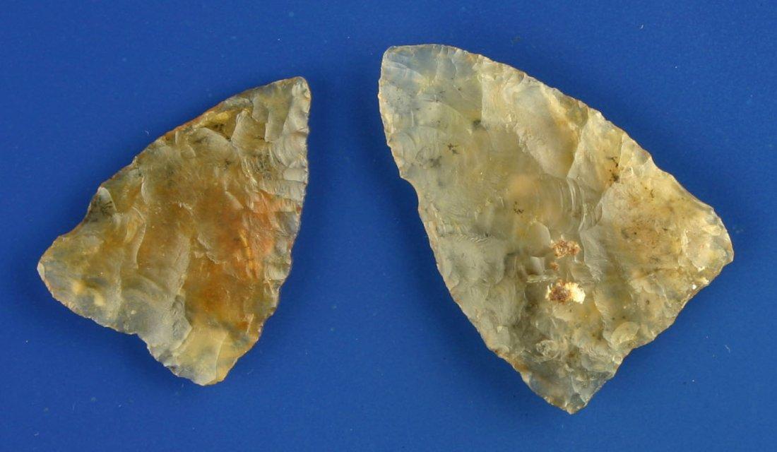 60: Killer Pair Translucent Moss Agate Plains Triangles - 2