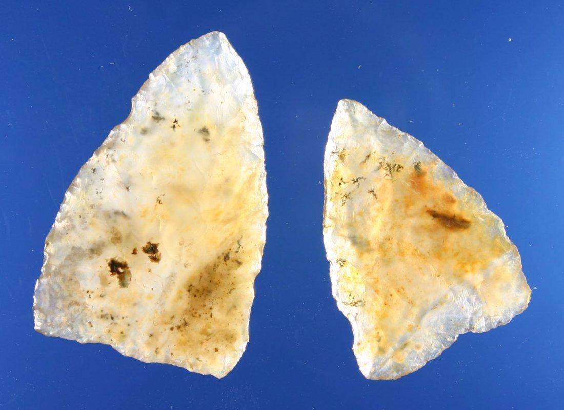 60: Killer Pair Translucent Moss Agate Plains Triangles - 3
