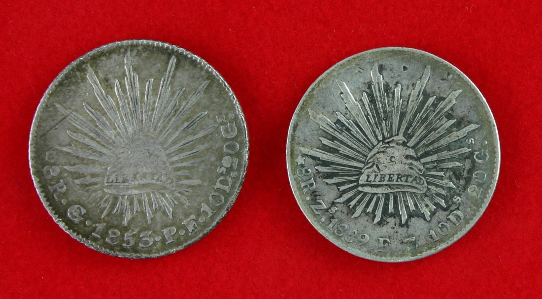 97: 2 Large Early Mexican 8 Reales