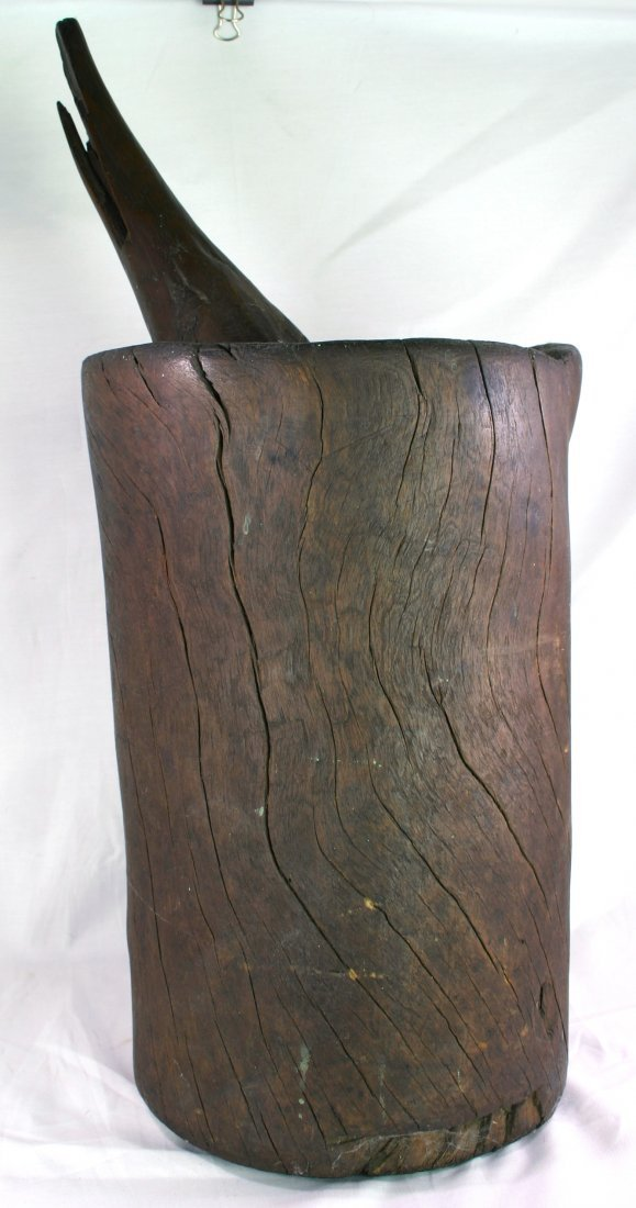 """2: 14 1/2"""" Algoquin Wooden Mortar with Pestle"""