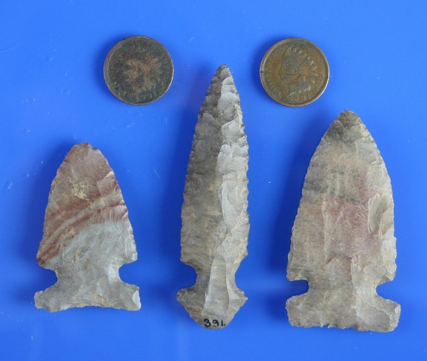 3 Kentucky Arrowheads & a Pair of 1900 Indian Head