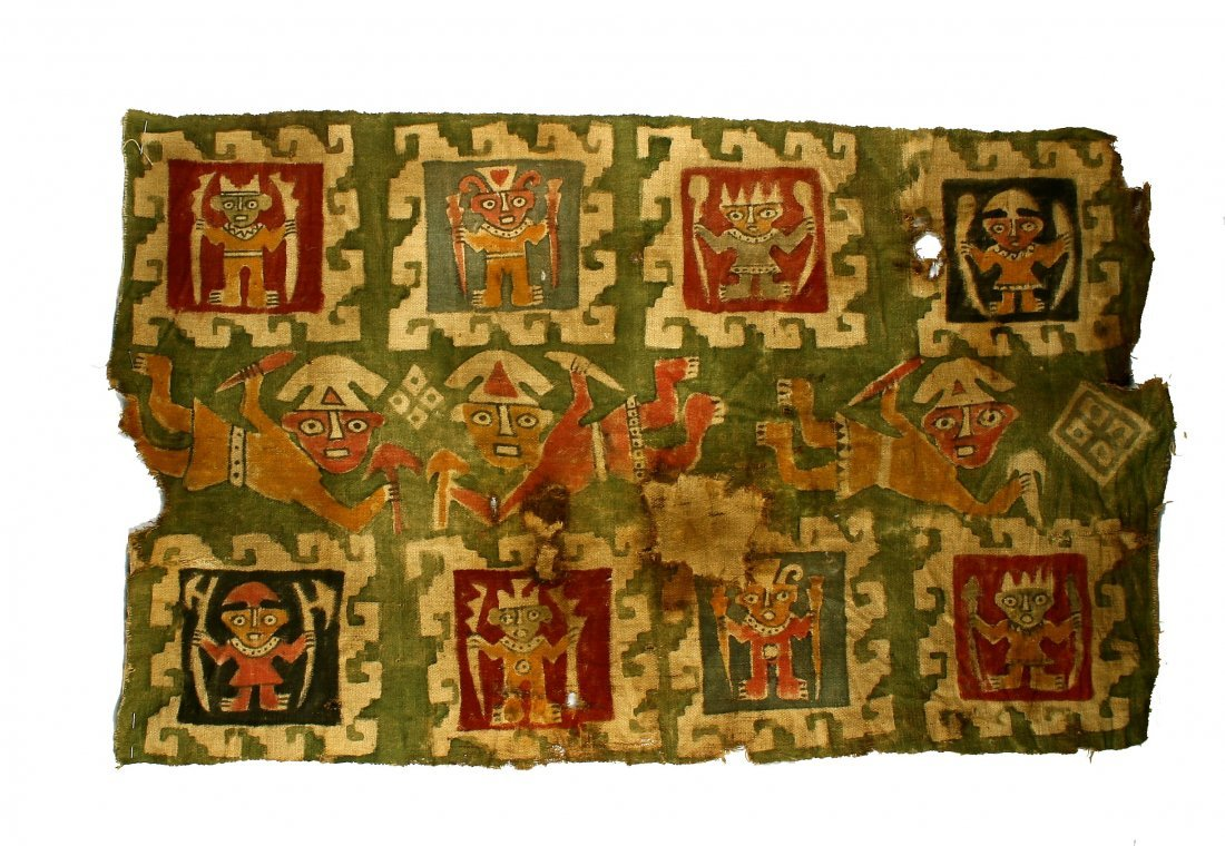 "25.5x40.5"" Painted PreColumbian Panel Textile"