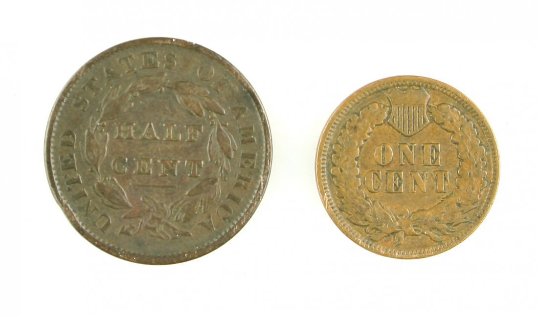 1835 Half Cent and 1901 Indian Head Penny