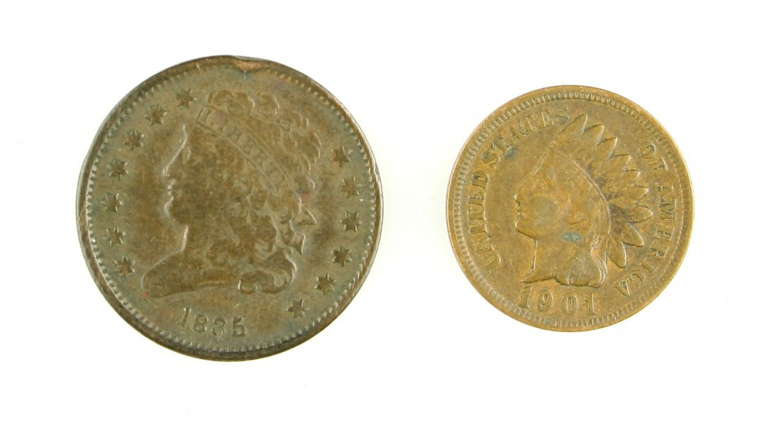1835 Half Cent and 1901 Indian Head Penny - 2