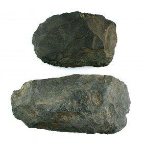 Pair Of Black Flint Celts