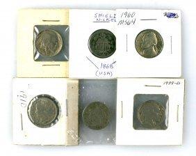 6 Vintage Nickels