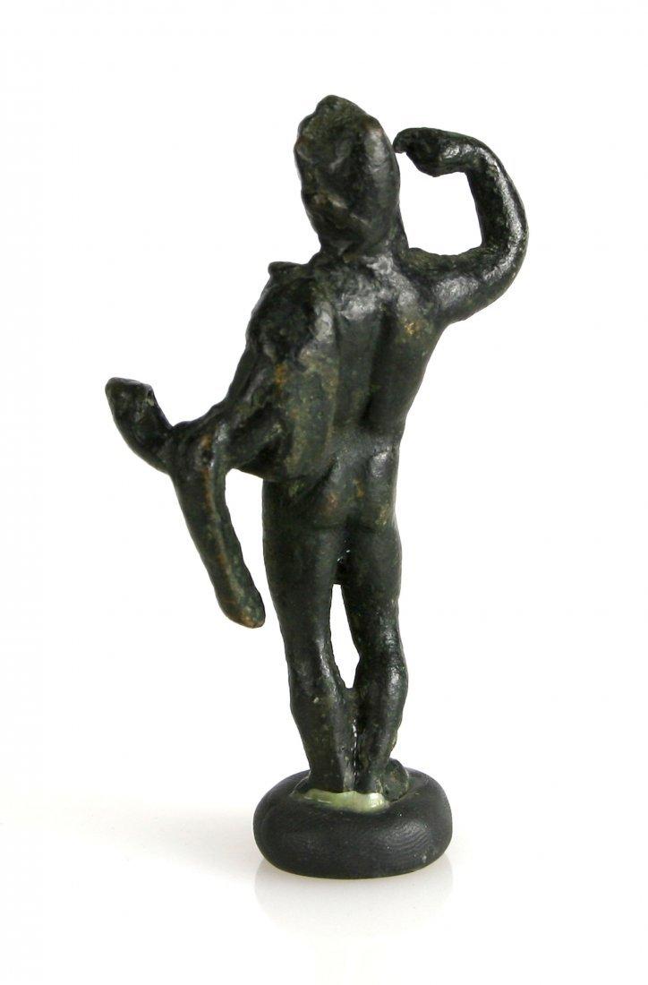 """3 1/4"""" Roman Bronze Male Statuette - 2"""