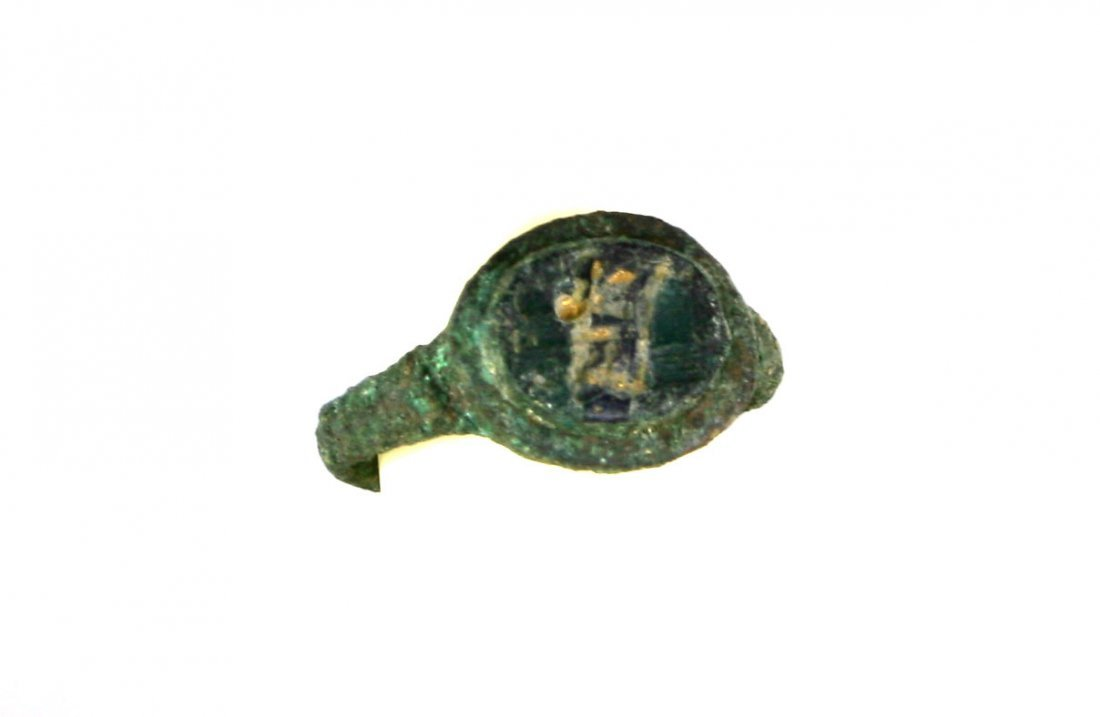 Ancient Roman Bronze Ring with Gold Inlay