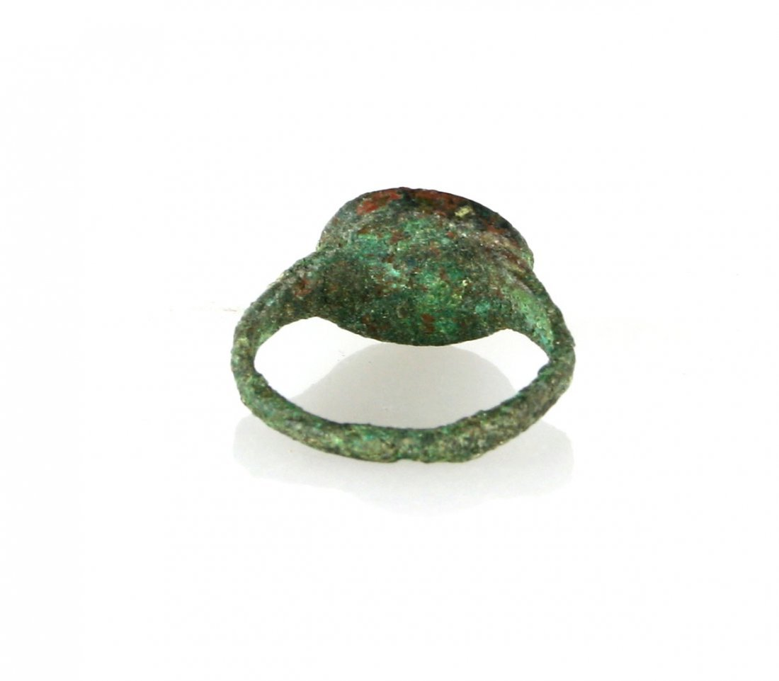 Ancient Roman Bronze Ring with Gold Inlay - 4
