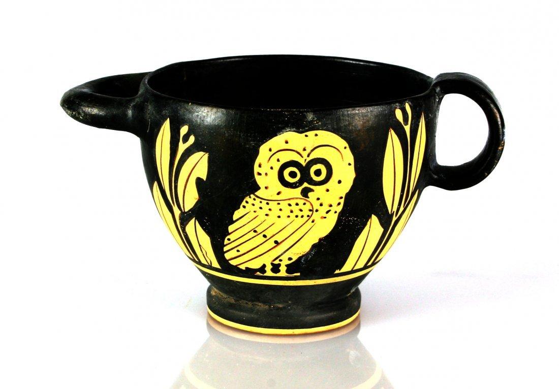 "3 1/8"" Grecian Apulian Owl Skyphos *restored"