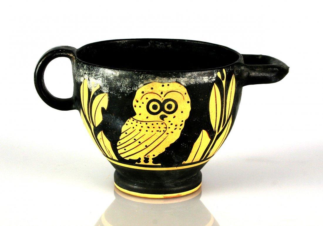 "3 1/8"" Grecian Apulian Owl Skyphos *restored - 3"