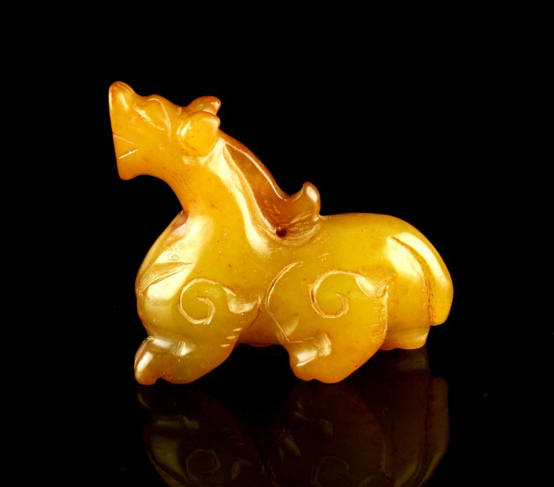 "2 1/4"" Chinese Carved Jade Dragon or Horse - 3"