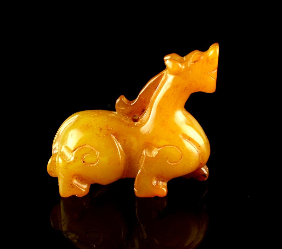 "2 1/4"" Chinese Carved Jade Dragon or Horse - 4"
