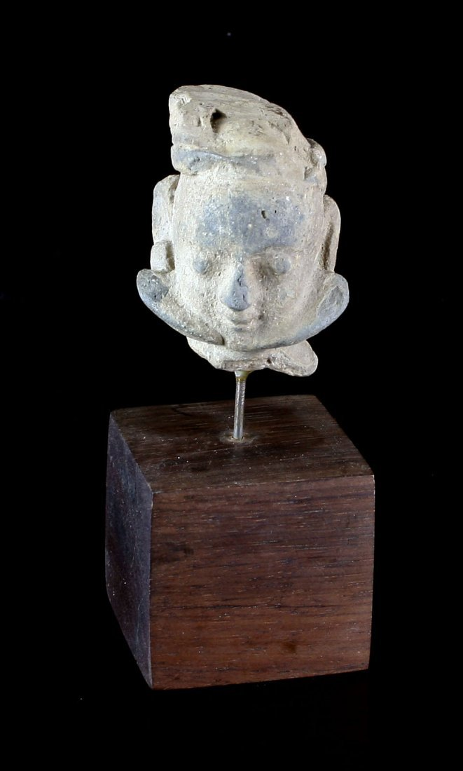 "2"" Egyptian Terra Cotta Head with Stand."