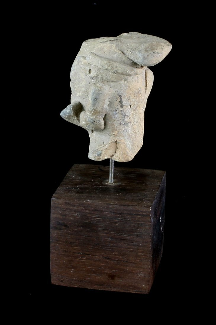 "2"" Egyptian Terra Cotta Head with Stand. - 2"