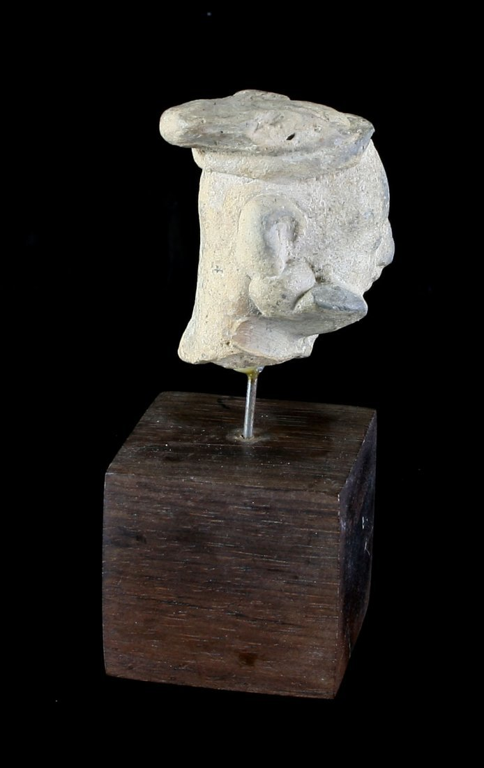 "2"" Egyptian Terra Cotta Head with Stand. - 3"