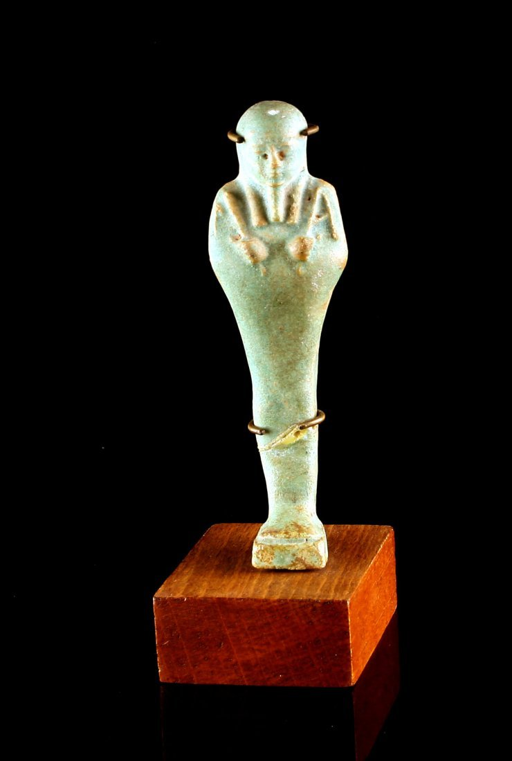 "4 5/16"" Egyptian Ushabti with stand *Repaired - 4"