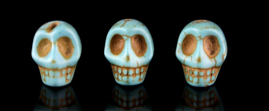 3 Glazed Skull Beads