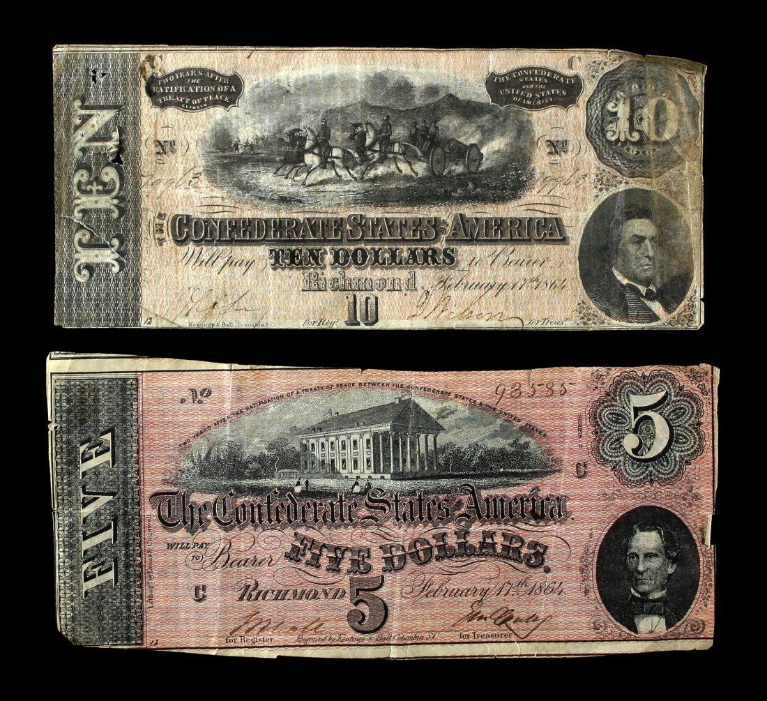 Pair of Confederate Bills $5, $10,