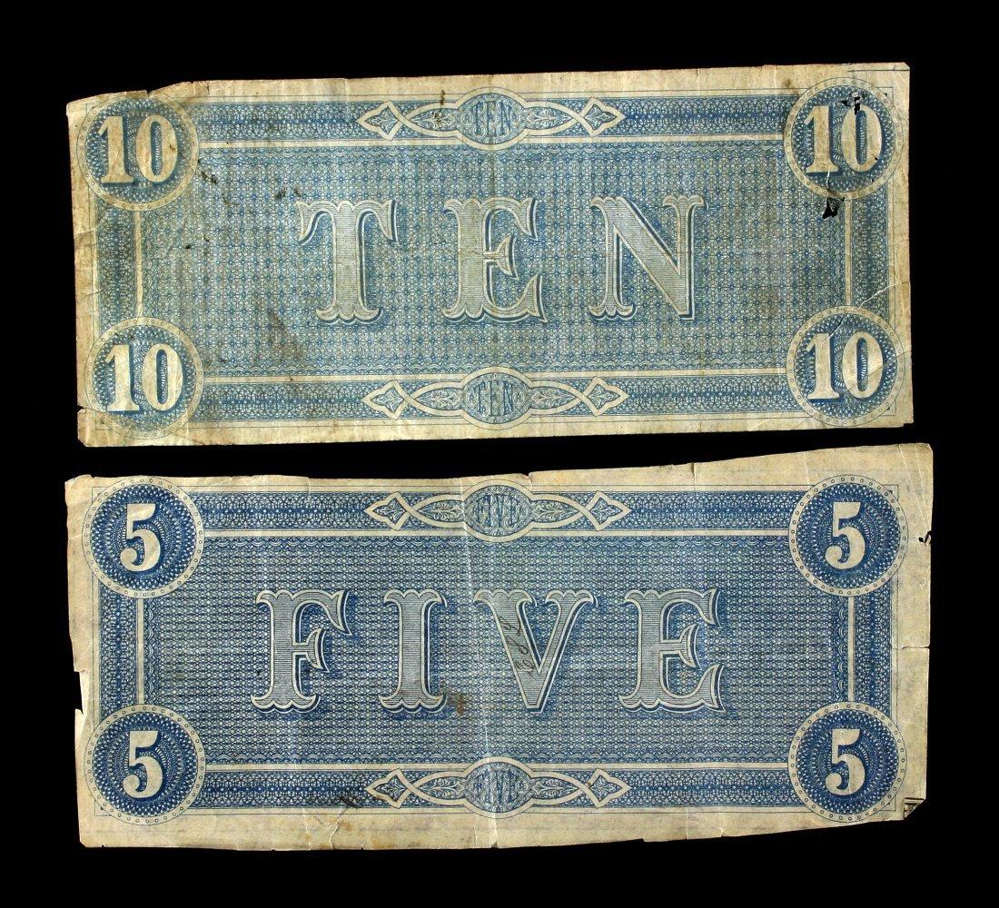 Pair of Confederate Bills $5, $10, - 2