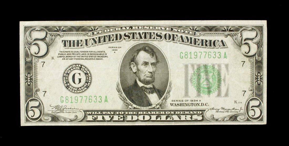 1934A Lincoln $5 Bill.