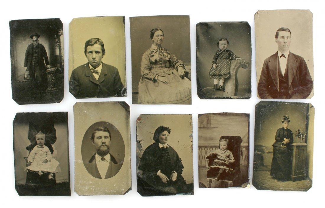10 Unmounted Tintypes - 1800's
