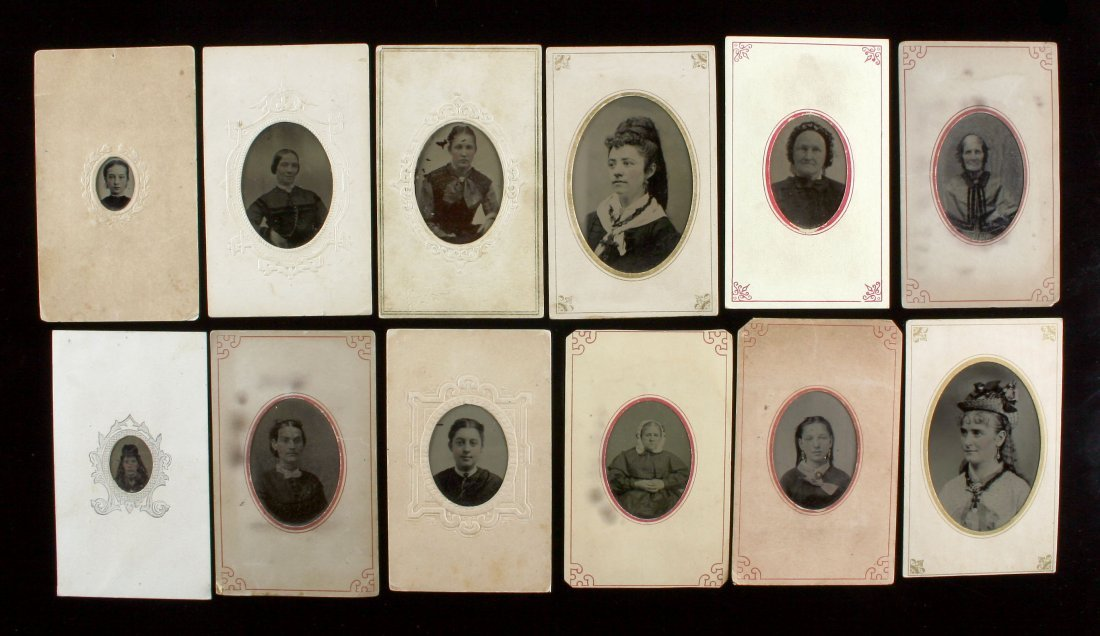 12 Mounted Tintype Female Portraits
