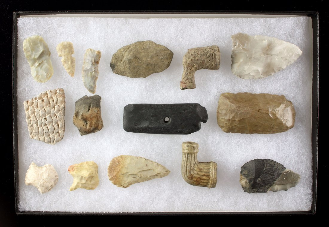 8x12 display of 15 Indiana Artifacts