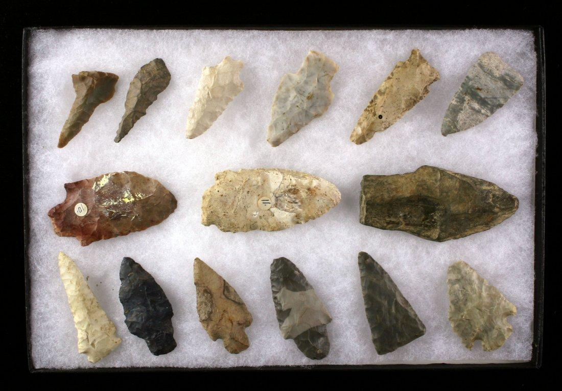Display of 15 Nice Indiana Arrowheads
