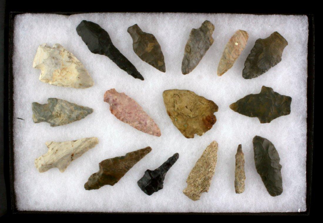 Display of 16 Indiana Arrowheads