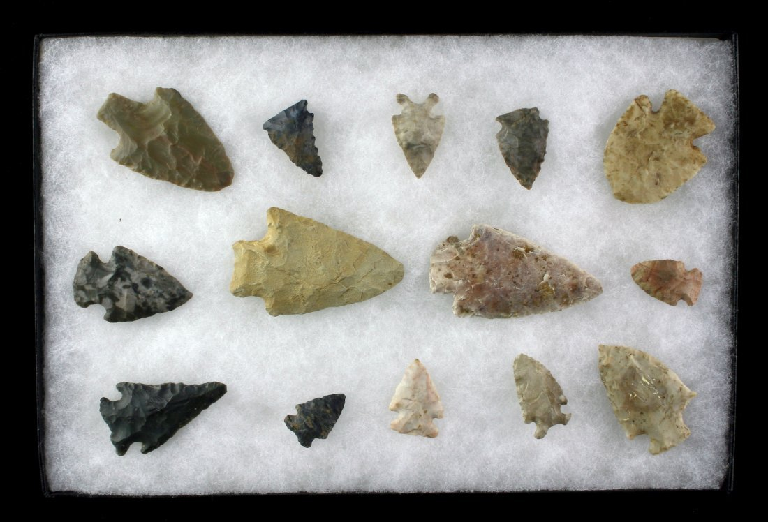 8x12 Display of 14 Indiana Arrowheads
