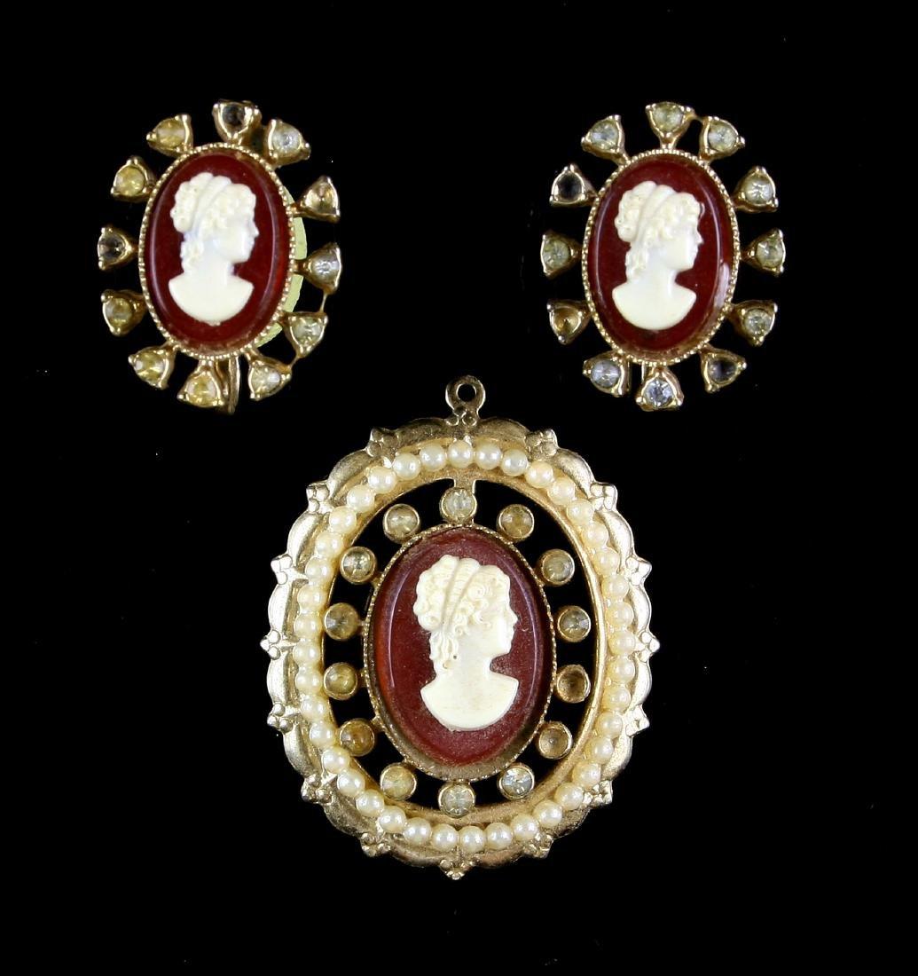 Vintage Coro Cameo Costume Jewelry set.