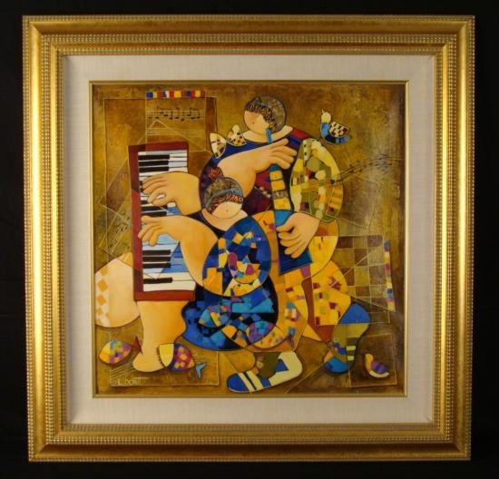 Dorit Levi Original Framed Music Art Oil Painting Duet