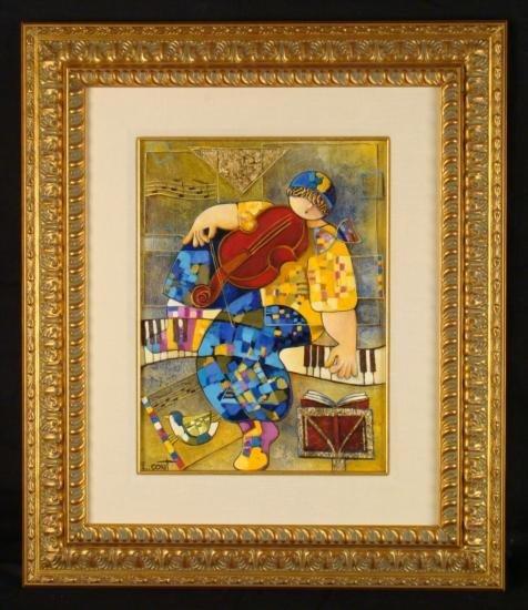 """Dorit Levi Original Framed Oil Painting """"The Composer"""""""