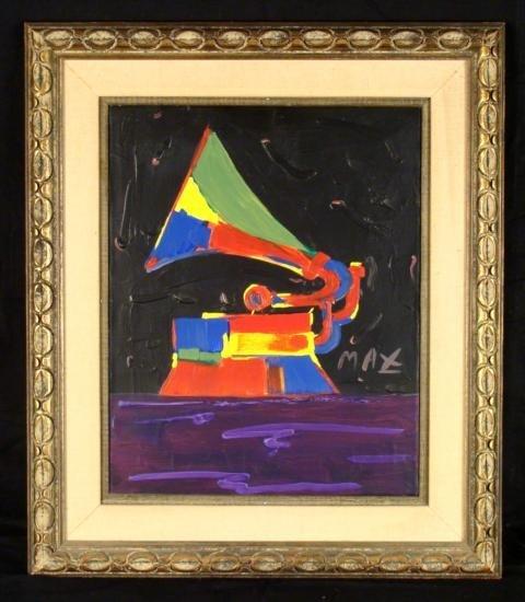 Peter Max Original Acrylic Painting Canvas - Phonograph