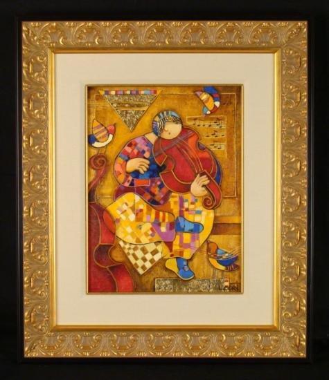 """Dorit Levi Original Framed Oil Painting """"The Violinist"""""""